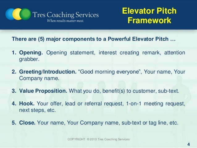 How to improve your 30 second elevator pitch for 30 second pitch template
