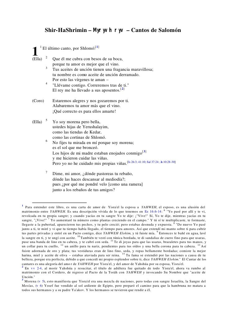 Shir-HaShrimin – Myryvh ryv – Cantos de Salomón            1                El último canto, por Shlomó:[ 1]      1      (...