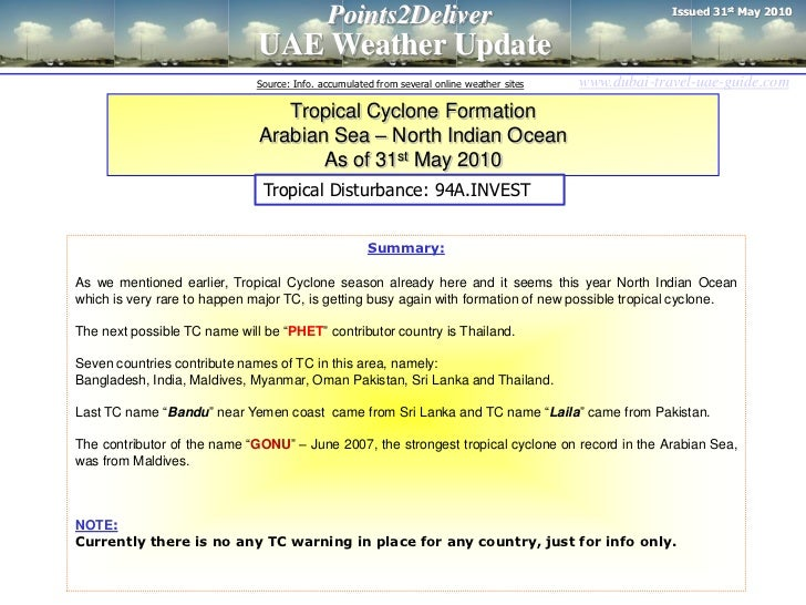 Issued 31st May 2010                                             Points2Deliver                              UAE Weather U...