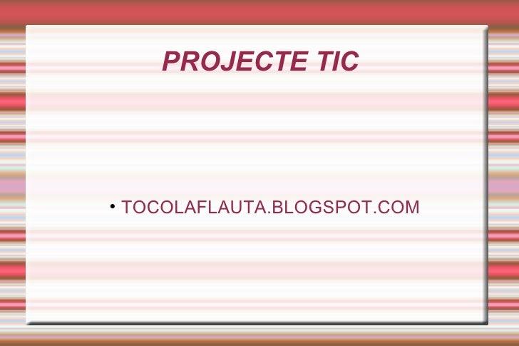 PROJECTE TIC <ul><ul><li>TOCOLAFLAUTA.BLOGSPOT.COM </li></ul></ul>