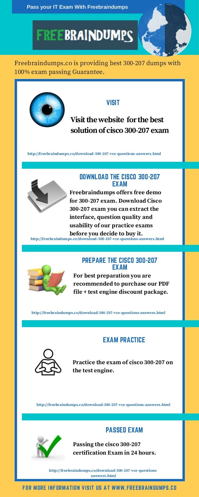 VISIT Freebraindumps.co is providing best 300-207 dumps with 100% exam passing Guarantee. FOR MORE INFORMATION VISIT US AT...