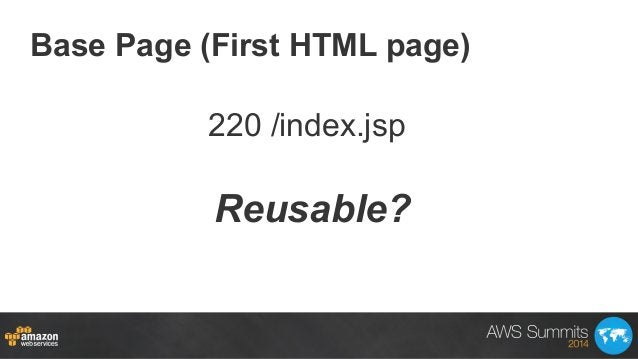 Base Page (First HTML page) Reusable? 220 /index.jsp