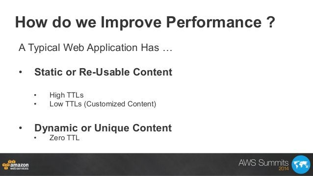 How do we Improve Performance ? A Typical Web Application Has … • Static or Re-Usable Content • High TTLs • Low TTLs (C...