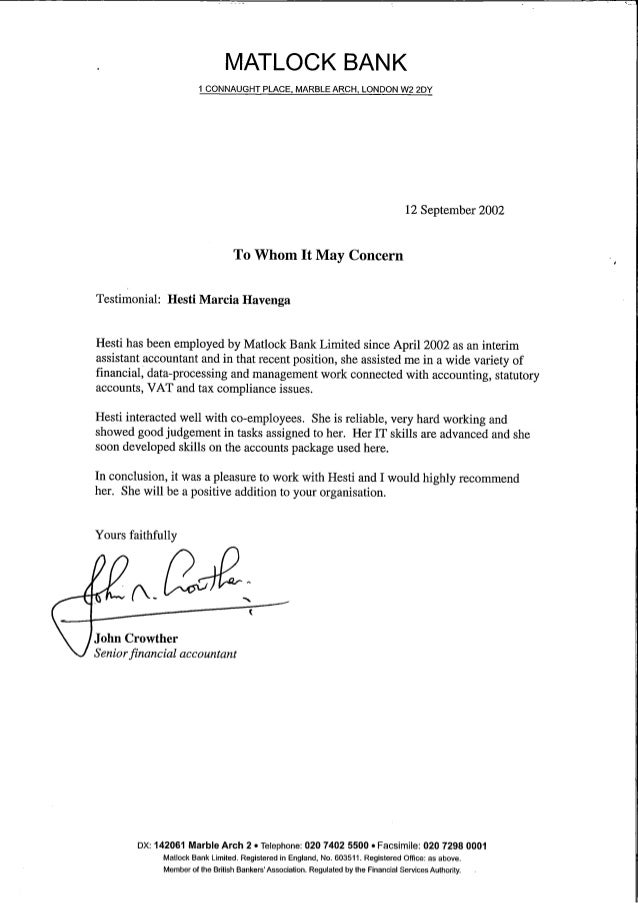 Matlock Bank reference letter John Crowther
