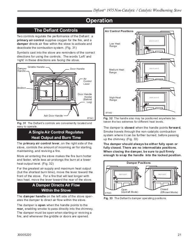 Vermont Castings defiant 1975  wood stove manual operation installation