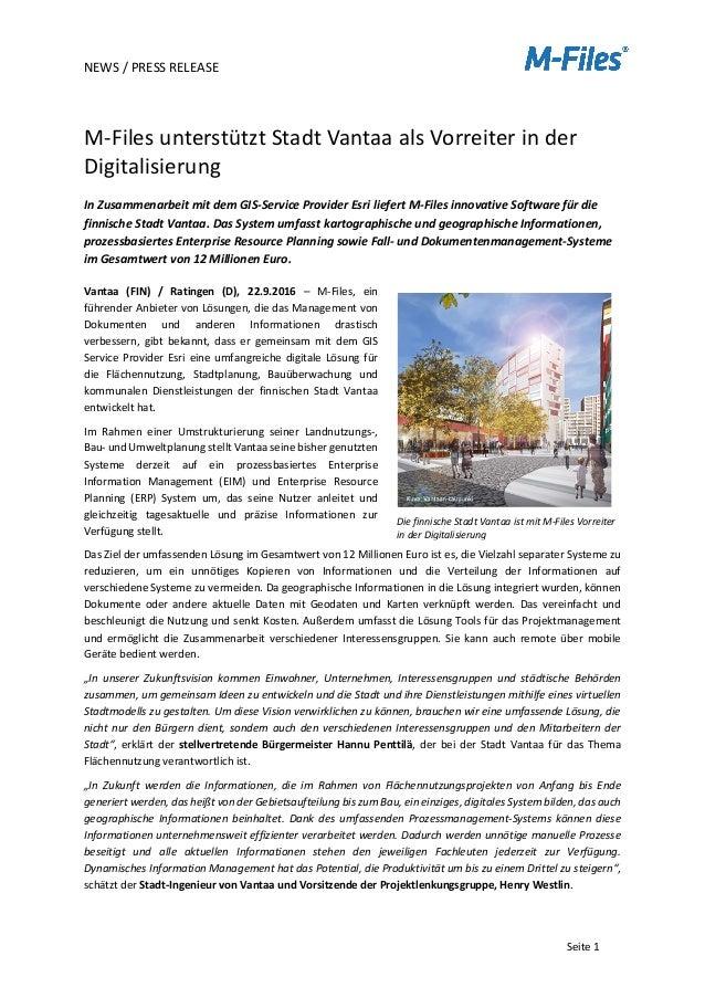 NEWS/PRESSRELEASE   Seite1  M-FilesunterstütztStadtVantaaalsVorreiterinder Digitalisierung InZusammenar...
