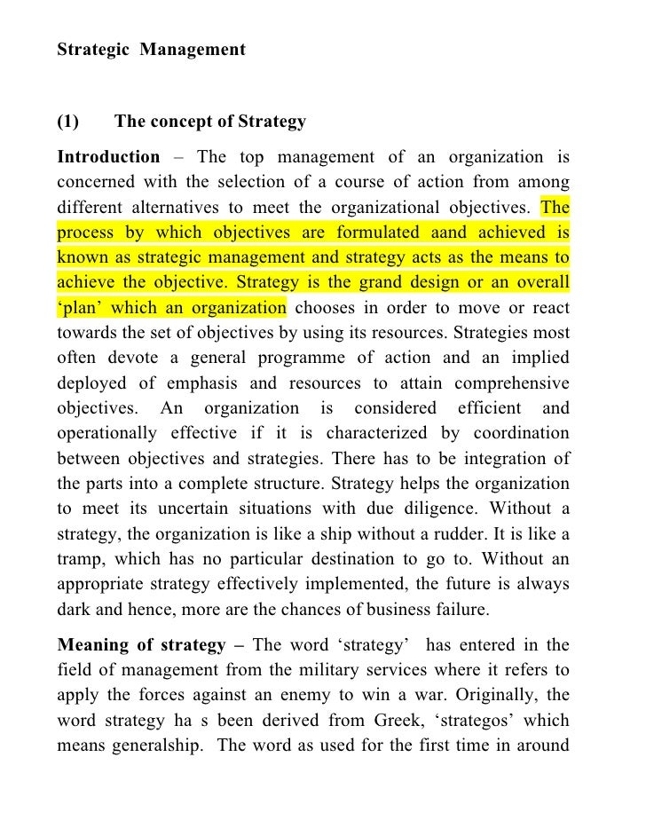 Strategic Management(1)    The concept of StrategyIntroduction – The top management of an organization isconcerned with th...