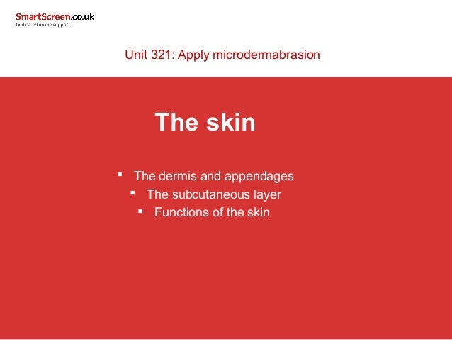 Unit 321: Apply microdermabrasion  The skin   The dermis and appendages   The subcutaneous layer   Functions of the ski...