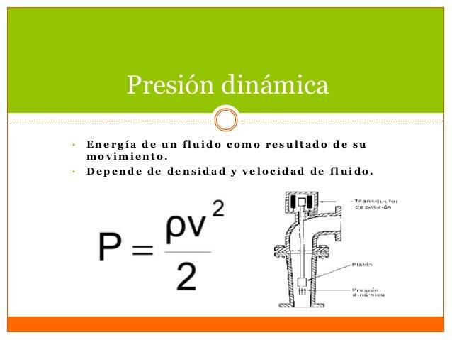  Presión dinámica energía cinética  Presión hidrostática efectos