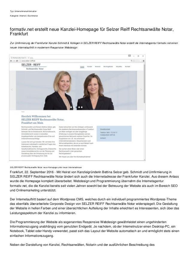 Typ: Unternehmensinformation Kategorie: Internet | Ecommerce formativ.net erstellt neue Kanzlei-Homepage für Selzer Reiff ...