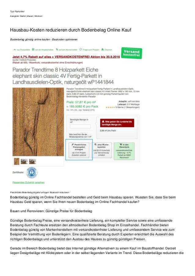 Typ: Fachartikel Kategorie: Garten | Bauen | Wohnen Hausbau-Kosten reduzieren durch Bodenbelag Online Kauf Bodenbelag güns...