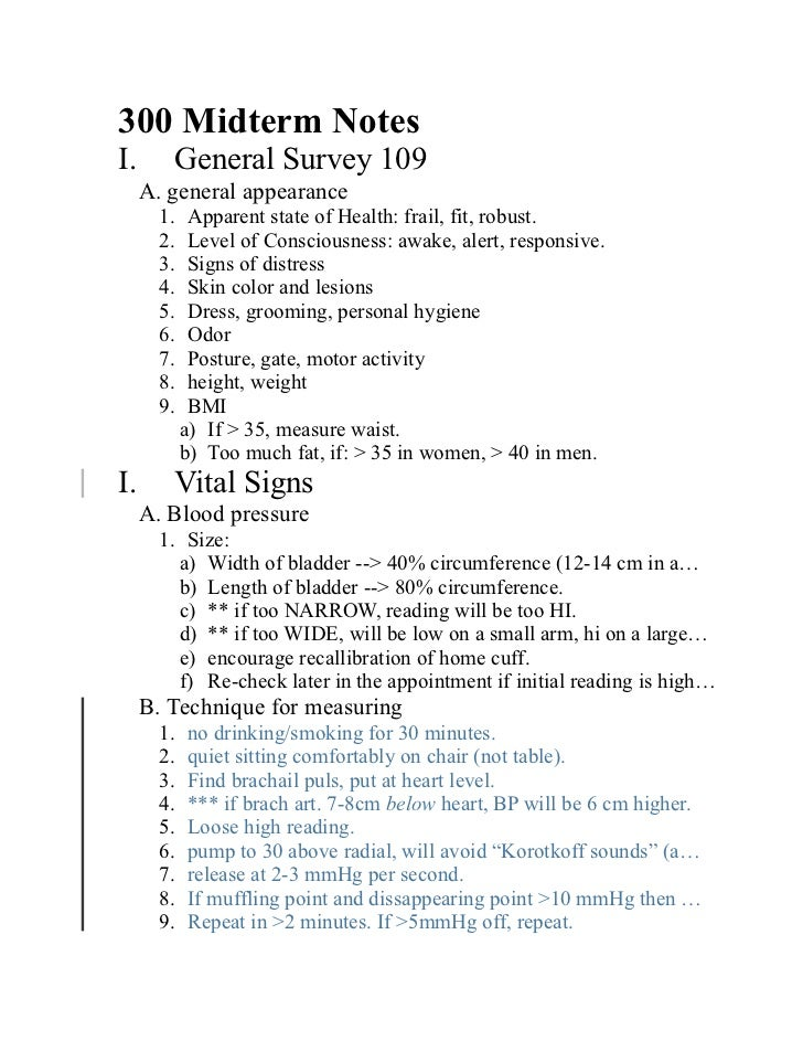 300 Midterm NotesI.       General Survey 109     A. general appearance       1.    Apparent state of Health: frail, fit, r...