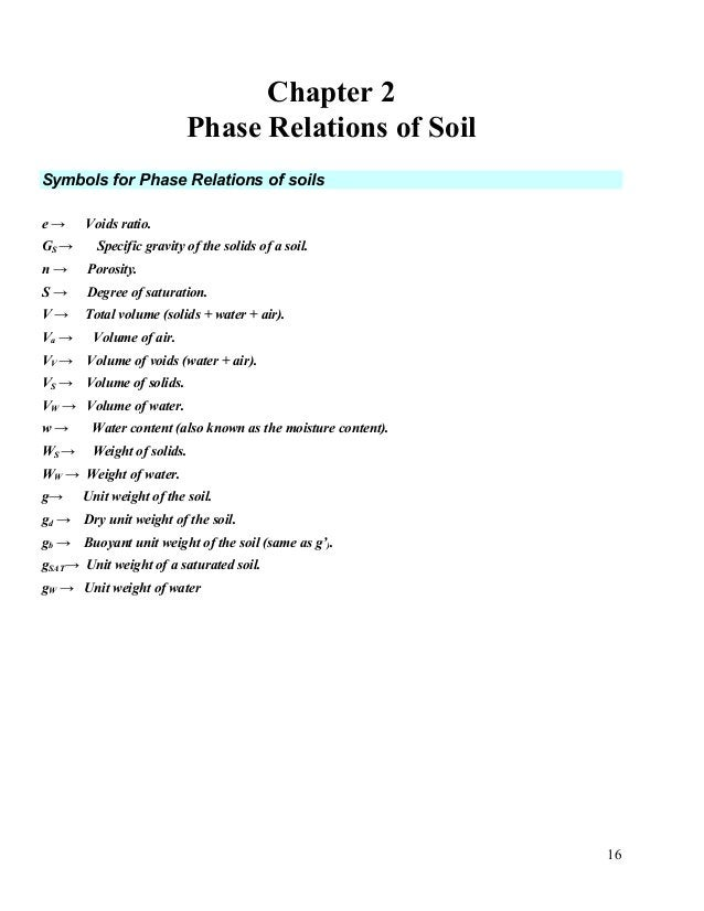 17 Basic Concepts and Formulas for the Phases of Soils. (A) Volumetric Relationships: 1. - Voids ratio e V S V e V = 2-1 r...