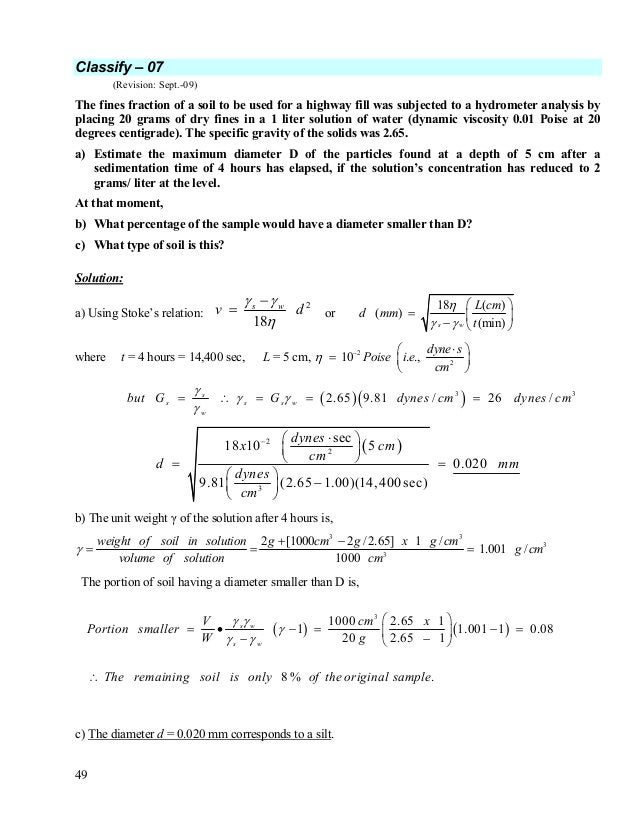 50 Classify – 08 (Revision: Sept.-09) The formula for the relative compaction Dr is, minmax max ee ee Dr − − = Derive an e...