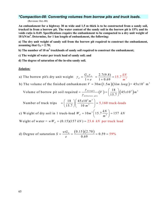 66 9.7 γd(max) 98% S. Proctor 14.3 0.52 0.49 0.46 0.43 0.41 0.34 0.33 0.32 0.30 0.29 S = 100% 108 110 112 114 116 118 120 ...