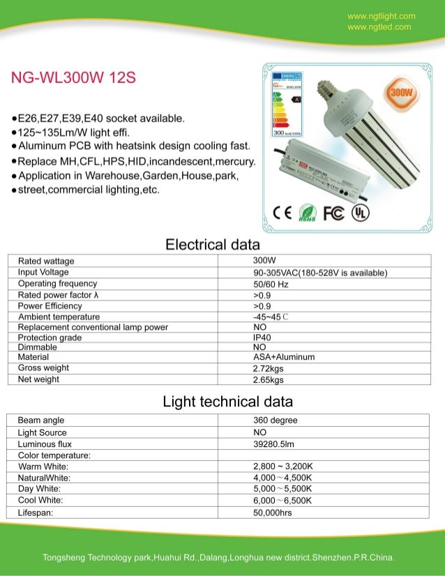300W LED Corn Light External Power Specification