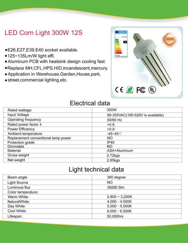 300W LED Corn Light External Power Specification Neutral