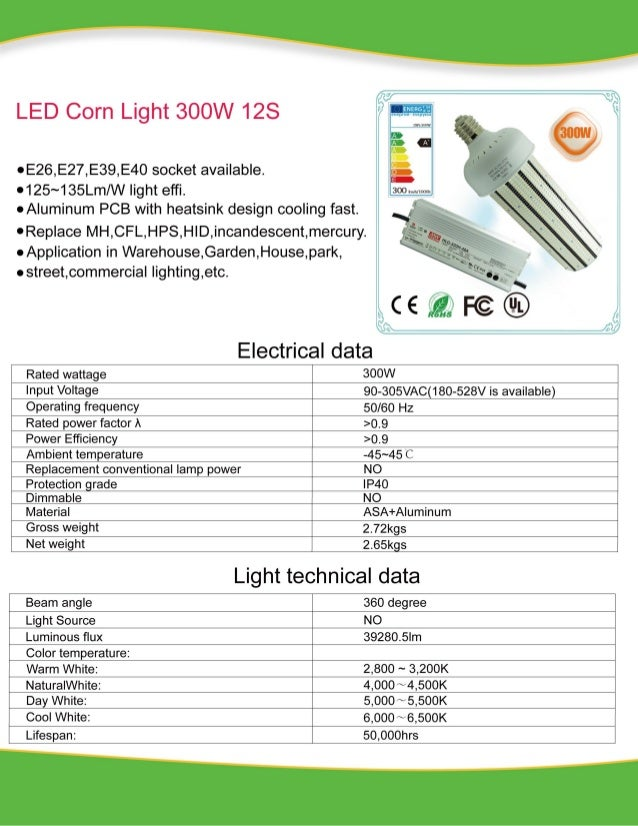 External Power 300W LED Corn Light Specification Neutral