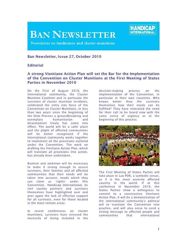 Ban Newsletter, Issue 27, October 2010EditorialA strong Vientiane Action Plan will set the Bar for the Implementationof th...