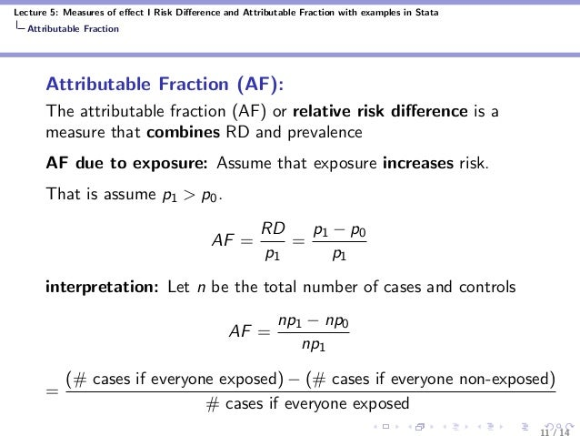 Lecture 5: Measures of effect I Risk Difference and Attributable Fraction with examples in Stata Attributable Fraction Attri...