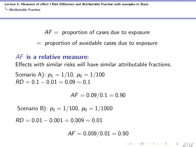 Lecture 5: Measures of effect I Risk Difference and Attributable Fraction with examples in Stata Attributable Fraction AF = ...