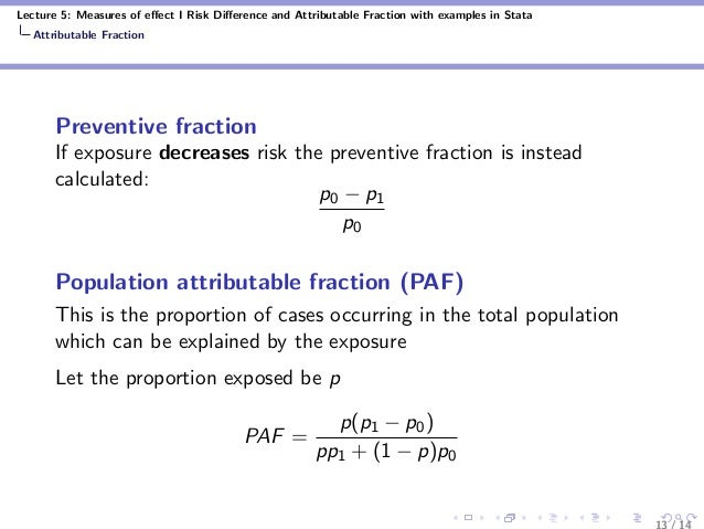 Lecture 5: Measures of effect I Risk Difference and Attributable Fraction with examples in Stata Attributable Fraction Preve...
