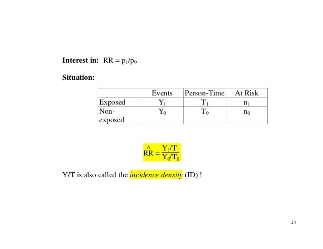 24 Interest in: RR = p1/p0 Situation: RR ^ = Y1/T1 Y0/T0 Y/T is also called the incidence density (ID) ! Events Person-Tim...