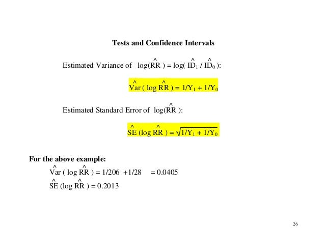 26 Tests and Confidence Intervals Estimated Variance of log(RR ^ ) = log( ID1 ^ / ID0 ^ ): Var ^ ( log RR ^ ) = 1/Y1 + 1/Y...