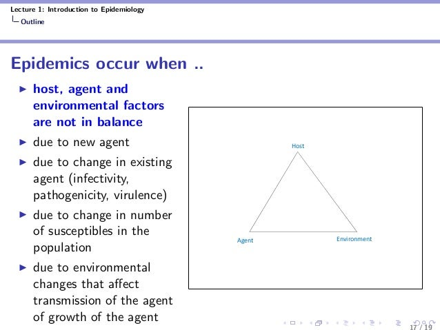 Lecture 1: Introduction to Epidemiology Outline Epidemics occur when .. host, agent and environmental factors are not in b...