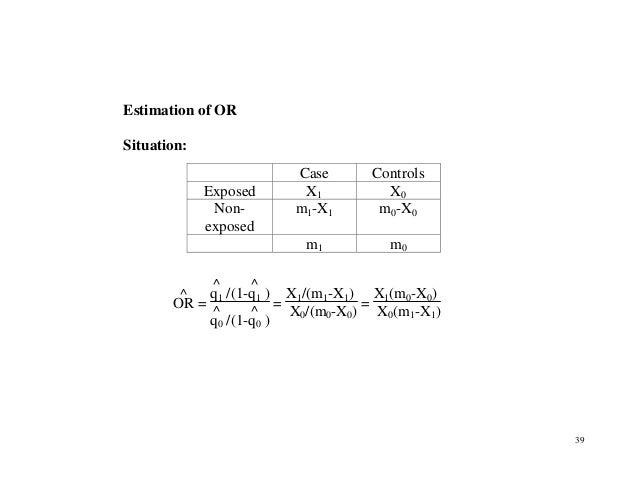 39 Estimation of OR Situation: OR ^ = q1 ^ /(1-q1 ^ ) q0 ^ /(1-q0 ^ ) = X1/(m1-X1) X0/(m0-X0) = X1(m0-X0) X0(m1-X1) Case C...