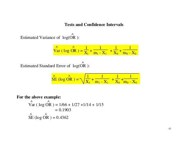 41 Tests and Confidence Intervals Estimated Variance of log(OR ^ ): Var ^ ( log OR ^ ) = 1 X1 + 1 m1 - X1 + 1 X0 + 1 m0 - ...