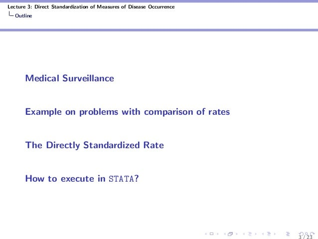 Lecture 3: Direct Standardization of Measures of Disease Occurrence Outline Medical Surveillance Example on problems with ...