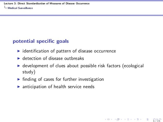 Lecture 3: Direct Standardization of Measures of Disease Occurrence Medical Surveillance potential specific goals identifica...