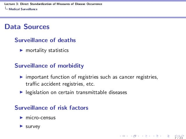 Lecture 3: Direct Standardization of Measures of Disease Occurrence Medical Surveillance Data Sources Surveillance of deat...