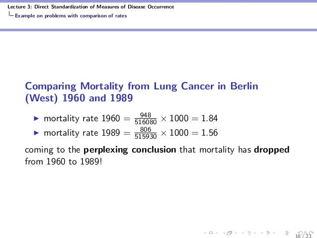 Lecture 3: Direct Standardization of Measures of Disease Occurrence Example on problems with comparison of rates Comparing...