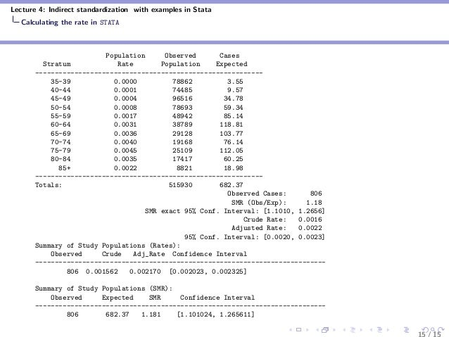 Lecture 4: Indirect standardization with examples in Stata Calculating the rate in STATA Population Observed Cases Stratum...