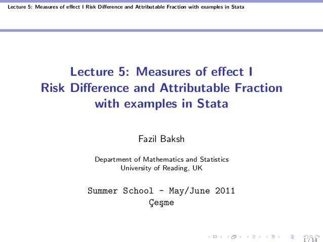 Lecture 5: Measures of effect I Risk Difference and Attributable Fraction with examples in Stata Lecture 5: Measures of effec...
