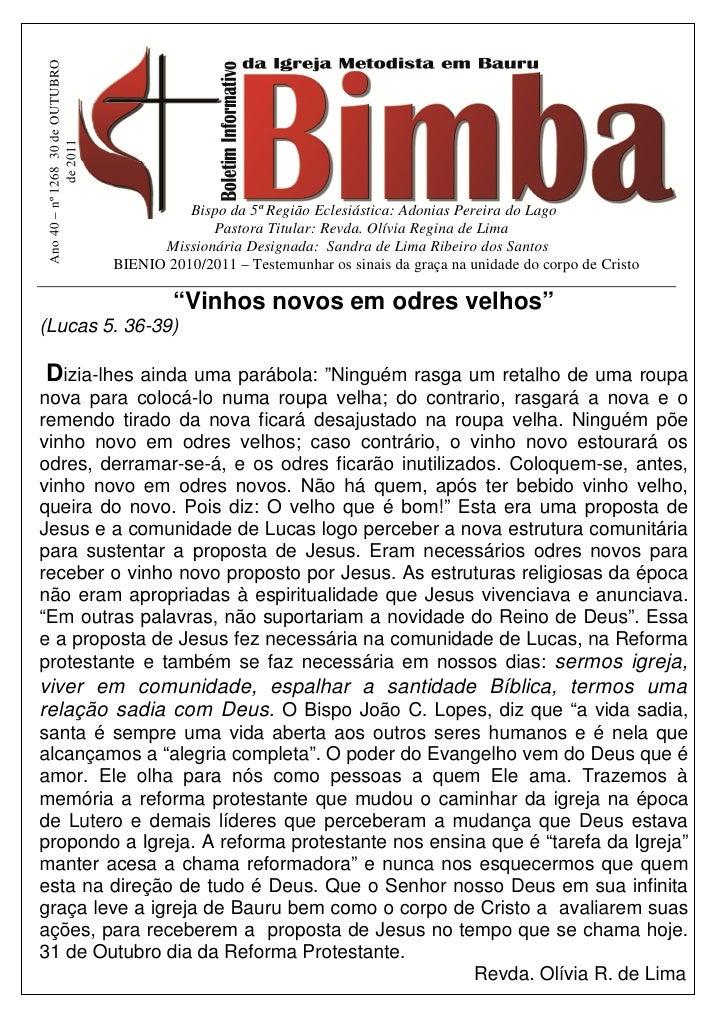 Ano 40 – nº 1268 30 de OUTUBRO              de 2011                                            Bispo da 5ª Região Eclesiás...