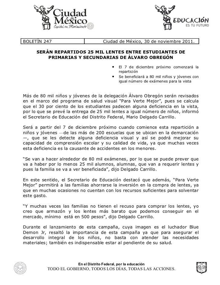 Serán repartidos 25 mil lentes entre estudiantes de primarias y secundarias de Álvaro Obregón