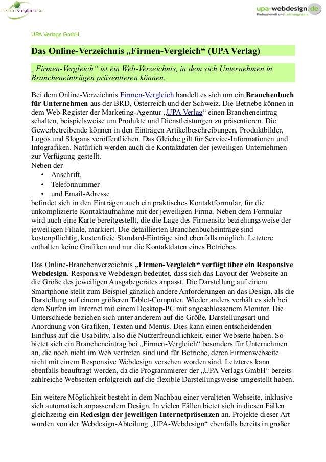 """UPA Verlags GmbH Das Online-Verzeichnis """"Firmen-Vergleich"""" (UPA Verlag) """"Firmen-Vergleich"""" ist ein Web-Verzeichnis, in dem..."""