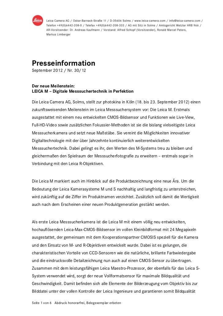PresseinformationSeptember 2012 / Nr. 30/12Der neue Meilenstein:LEICA M – Digitale Messsuchertechnik in PerfektionDie Leic...