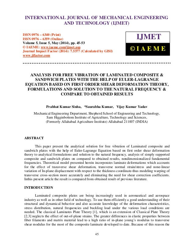 ANALYSIS FOR FREE VIBRATION OF LAMINATED COMPOSITE & SANDWICH PLATES …