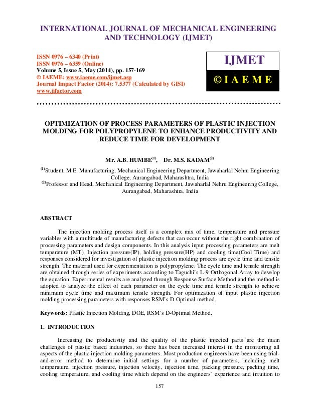 OPTIMIZATION OF PROCESS PARAMETERS OF PLASTIC INJECTION