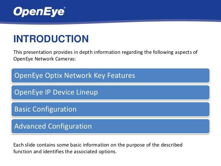OpenEye Optix Network Cameras Slide 2
