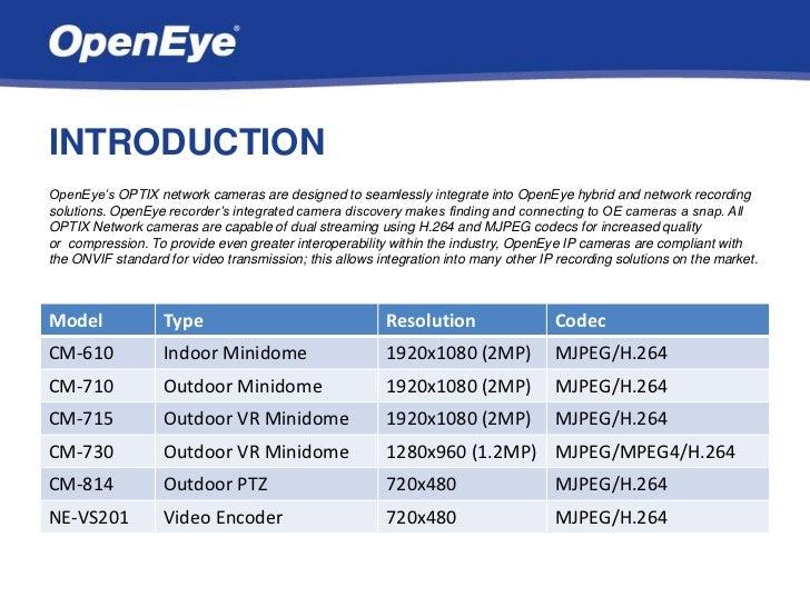 OpenEye Optix Network Cameras Slide 3