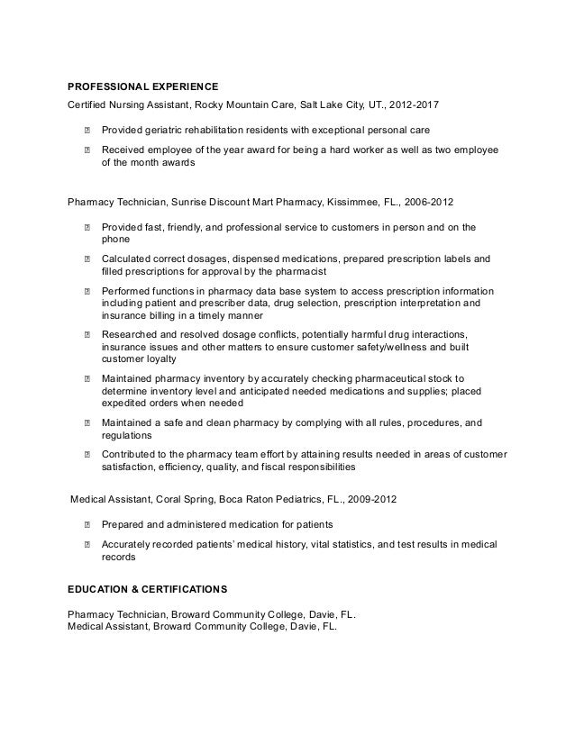 Gladys Etienne Pharmacy Tech Resume