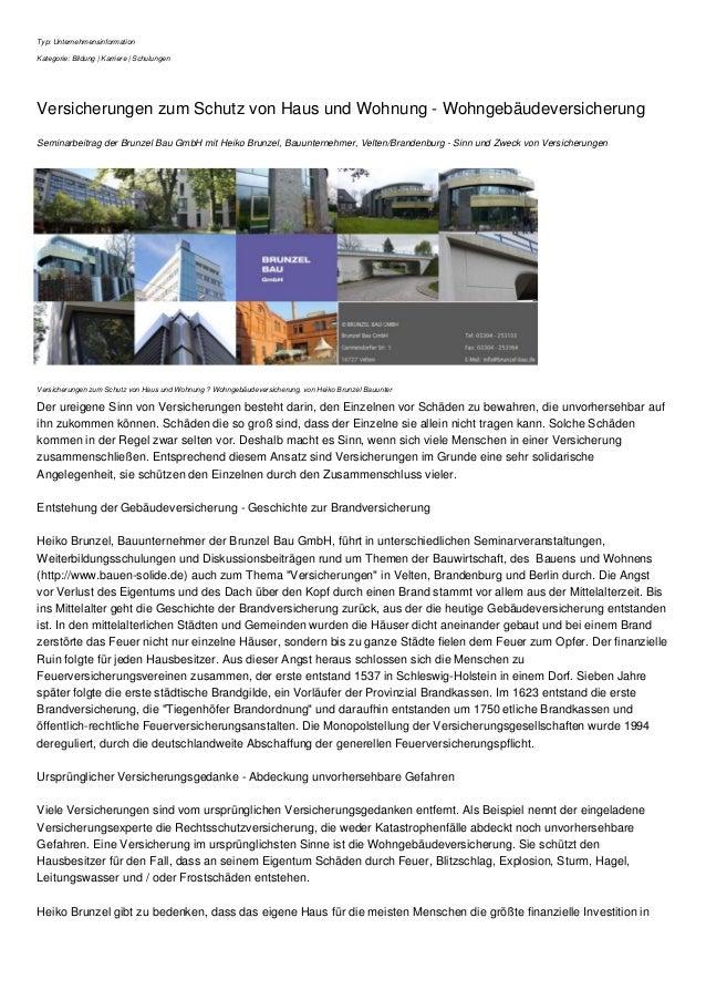 Typ: Unternehmensinformation Kategorie: Bildung | Karriere | Schulungen Versicherungen zum Schutz von Haus und Wohnung - W...