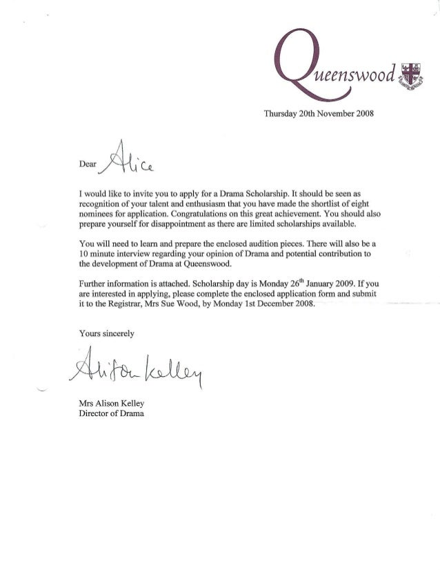 Alice atay queenswood drama scholarship invitation letter stopboris Images