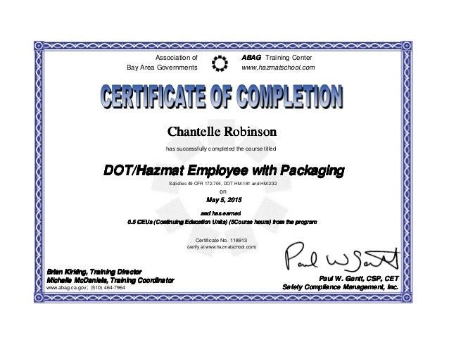 Dot Hazmat Certificate 118913