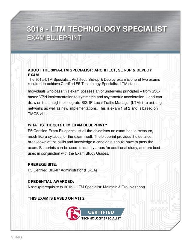 301a - LTM TECHNOLOGY SPECIALIST  EXAM BLUEPRINT  V1-2013  ABOUT THE 301A-LTM SPECIALIST: ARCHITECT, SET-UP & DEPLOY  EXAM...